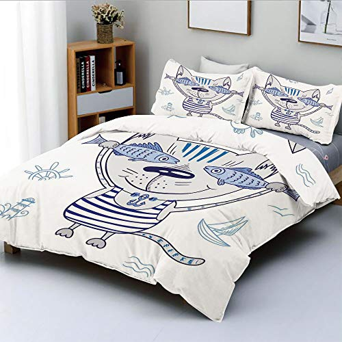 Duplex Print Duvet Cover Set Full Size,Naughty Cat with Fish in Striped T Shirt Anchor Pendant and Nautical SignDecorative 3 Piece Bedding Set with 2 Pillow Sham,Blue Grey,Best Gift for Kids & Adult