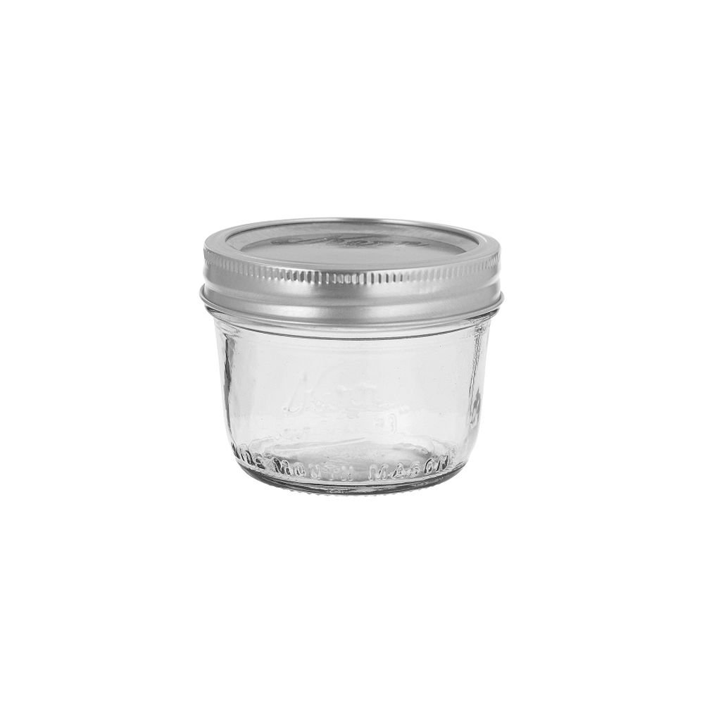 Kerr Wide Mouth Half-Pint Glass Mason Jars 8-Ounces with Lids and Bands 12-Count per Case (1-Case)