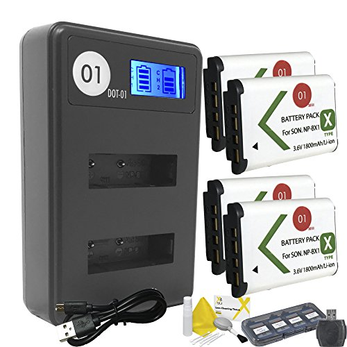 DOT-01 4x Brand 1800 mAh Replacement Sony NP-BX1 Batteries and Smart LCD Display USB Charger for Sony HDR-AS20 Camcorder and Sony BX1 Accessory Bundle by DOT-01