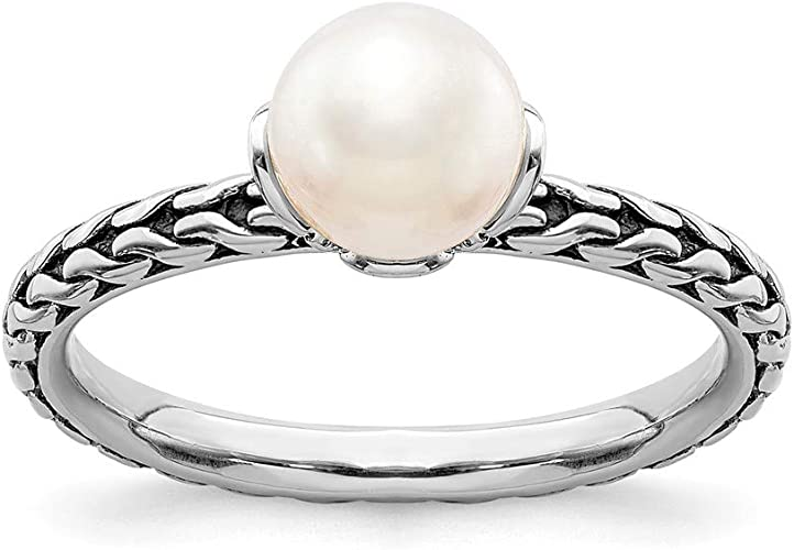 925 Yellow Gold Plated Freshwater Cultured White Pearl Stackable Ring Sz 5-10
