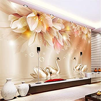 Image of Ai Ya-bihua 3D Wallpaper Fashion Flower Swan 3D TV Background Living Room Bedroom Background Mural Photo Wallpaper for Walls 3 d