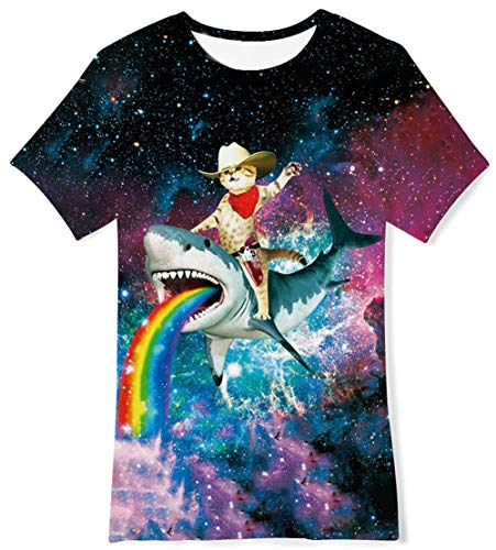 Galaxy Space 3D Printed T-Shirts Casual Daily Tee Cat Captain Shark Rainbow Short Sleeve Top Crewneck Cool Soft Playwear Clthing for Teenager Youth Girls Boys,6T