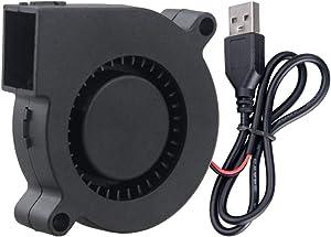 GDSTIME 50mm USB Blower Fan 5V 5015 50x15mm Turbine Turbo Brushless Cooling for DIY 3D Printer Cooling