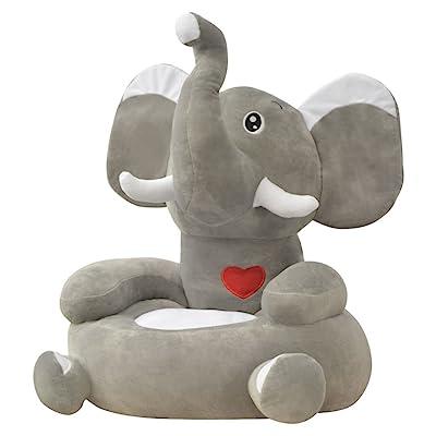 Chaise pour enfants en peluche Éléphant 100% polyester + remplissage PP et gris