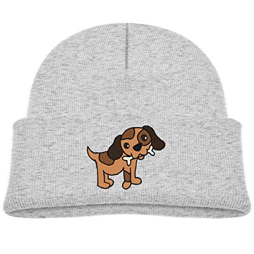 Kids Knitted Beanies Hat Baby Dog Eat Bone