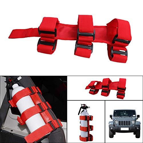 Red Sport Roll Bar Fire Extinguisher Holder for Nylon Tj Yj Jk Cj Jeep Wrangler