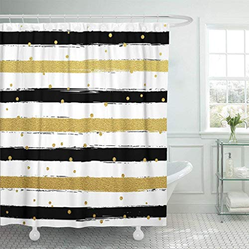 Sonernt Curtain Glitter Gold Striped Paint Brush Strokes Black and White Calligraphy Stripes Golden Polka Dot Hipster Shower Curtain Bathroom,Polyester Mildew Durable Waterproof ()