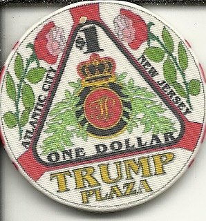 $1 trump plaza blue flower vintage obsolete casino chip atlantic city new jersey (Flower Trump)