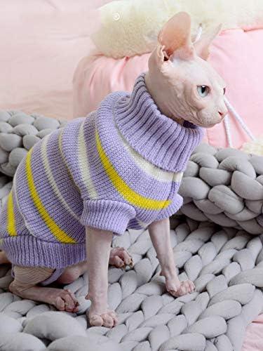 Bonaweite Hairless Cats Stripe Vest Turtleneck Sweater, Breathable Adorable Cat Wear Shirt Clothes, Cat's Pajamas Jumpsuit for Sphynx, Cornish Rex, Devon Rex, Peterbald 20