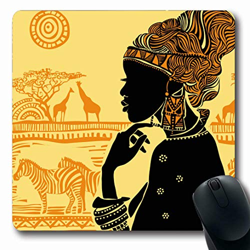 - Ahawoso Mousepads for Computers Africa America African Against Earrings Tribe South Zebra American Design Cult Oblong Shape 7.9 x 9.5 Inches Non-Slip Oblong Gaming Mouse Pad