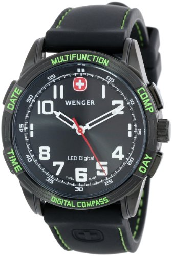 Wenger Men's 70433 Nomad Compass Green LED Black Silicone...