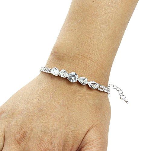 JewelryNanny Round-Cut and Pear-Cut Cubic Zirconia Tennis Chain Bracelet, Silver (Bracelet Pear Tennis)