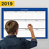 Erasable Annual Wall Calendar Planner From January Till December 2019, Yearly Planning/18-Inch-by -27-Inch (Blue)