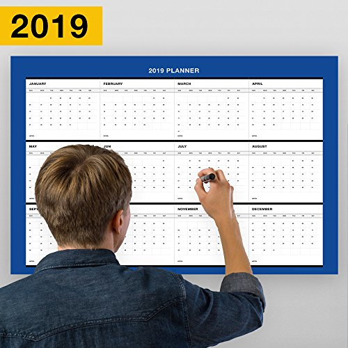 Erasable Annual Wall Calendar Planner From January Till December 2019, Yearly Planning/18-Inch-by -27-Inch (Blue) by ExImCenter