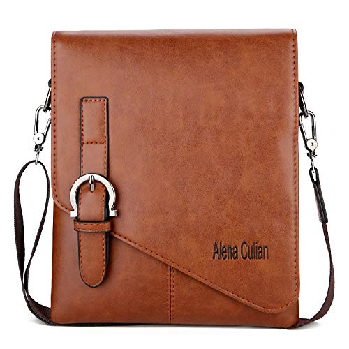 Men Shoulder Bag Waterproof Leather Small Crossbody Bag for iPad(Khaki)