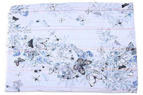 Anti Grand Ete En Bleu Jolie Femme Coloré All 5 Papillons Gland Echarpe Fil Impression Longue Printemps Paillettes Foulard D'or Uv ZqxvUFwq