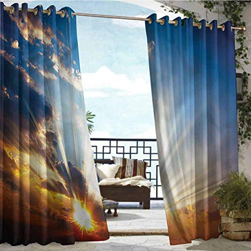 Price comparison product image crabee Outdoor Privacy Curtain for Pergola Clouds, Sunbeams in Sky Scenery, W84 xL96 Outdoor Patio Curtains Waterproof with Grommets