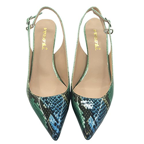 Pointy Toe Pumps Green Shoes Snakeskin Kitten Comfortable Pumps Women Slingbacks for Heels Low VOCOSI 6S8q4q