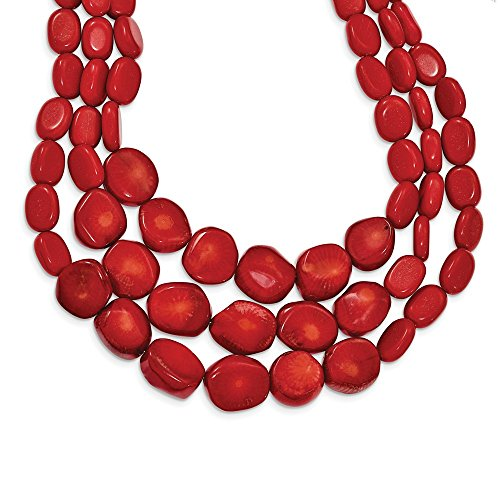 Swarovski Triple Strand Necklace - 925 Sterling Silver Red Coral 2 Inch Extension Triple Strand Chain Necklace Pendant Charm Natural Stone Fine Jewelry Gifts For Women For Her