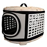 Mogoko Collapsible Hard Cover Sturdy Pet Travel Carrier - Portable Pet Kennel Comfortable EVA Transporter Airline Approved Animal Crate Cage for Dogs Cats Rabbits Small Pets (Champagne Color)
