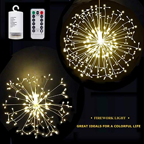 S SUNINESS 198 LED Starburst Lights - Firework Lights Battery Operated, Remote Control 8 Modes Xmas Christmas Decorative Copper Wire Lights (2 Pack) -