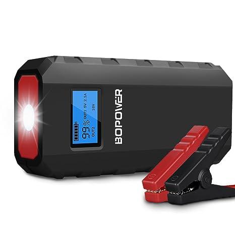 Coche Jump Starter, bopower multifunción recargable Booster Power Bank 500 A Peak 13600 mAh,