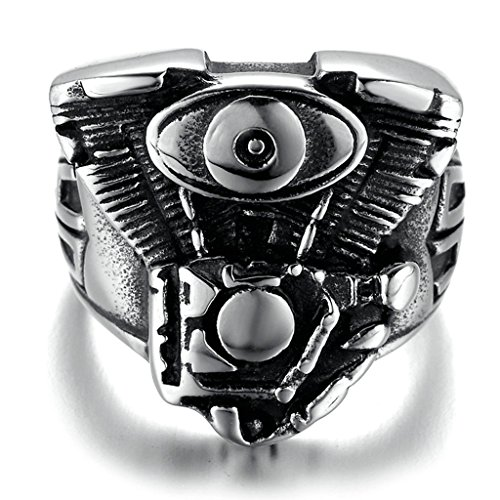 Muscle Man Circus Costume (Stainless Steel Ring for Men, Motor Ring Gothic Black Band 2321MM Size 12 Epinki)