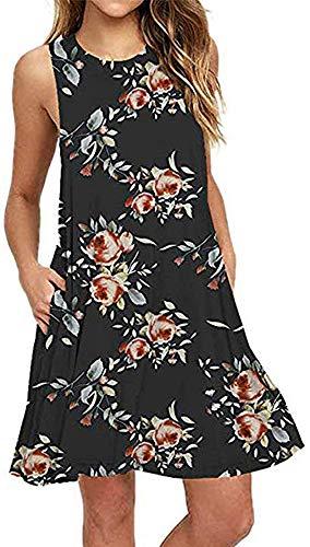 Tshirt Dresses for Women Summer Beach Boho Sleeveless Floral Sundress Pockets Swing Casual Loose Cover Up(Black - Shift Top