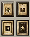 wallsthatspeak Lovely French Flower Set; Four 8x10-Inch Black Framed Art Prints; Ready to hang! Beige/Brown