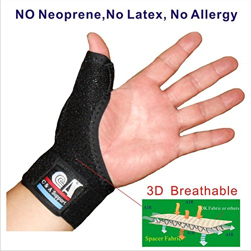 Thumb Joint (C&A Support,3D Breathable Patented Elastic Knit Spacer Fabric Reversible CMC Joint Thumb Stabilizer, Thumb Spica,for BlackBerry Thumb, Trigger Finger, Mommy Thumb Brace, Thumb Splint, One PCS)