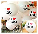 Party Tonight 100 Pk Latex Balloons White Colors : I Love You Balloons. Great for All Occasions: Wedding ,Engagement Birthdays, Holidays, Anniversary & Gift Enjoy The Ultimate Balloons For Any Party