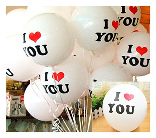 Party Tonight 100 Pk Latex Balloons White Colors : I Love You Balloons.Great for Anniversary,Wedding,Birthday or any - Shops Long Street 2nd Beach