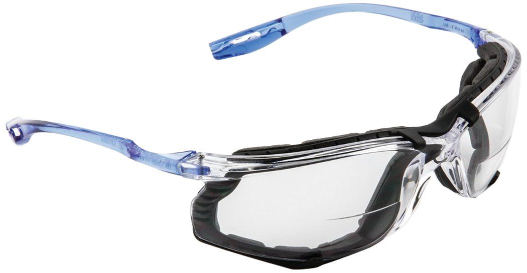 3M 10078371662698 Virtua CCS Protective Eyewear with Foam Gasket and Reader Lens, Standard, Blue with Clear Lens