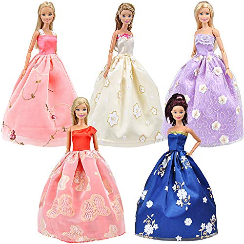 - E-TING 5pcs Fashion Gorgeous Princess Wedding Party Gown Dresses Clothes with Floral-Print Voile All Around for Girl Doll
