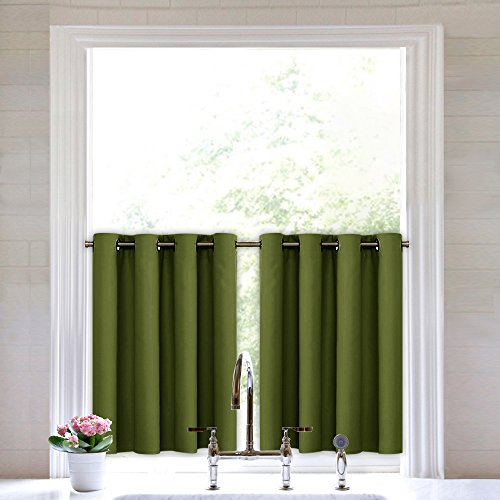 Double Wide Cafe - NICETOWN Blackout Valances Small Window Tiers - Window Treatment Kitchen Grommet Curtain Valance Panels by (Olive Green, Double Panels, 52