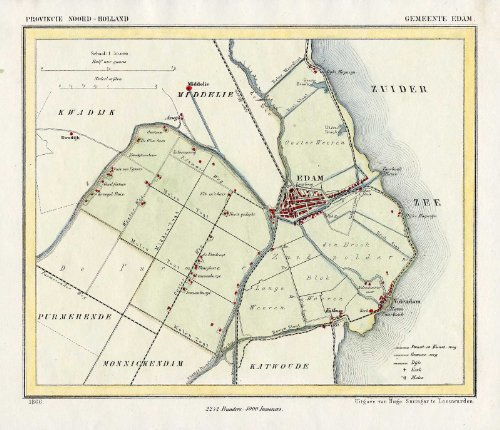 Antique Map-NETHERLANDS-TOWN PLAN-EDAM-NOORD HOLLAND-Kuyper-Kuijper-1865