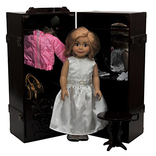 The Queen's Treasures Doll Storage Trunk with Vanity for 18D