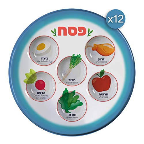 Disposable-Passover-Seder-Plate-12-Pack-10-Heavy-Duty-Plastic-Pictures-of-Each-Item-for-Kids-Adults-and-Communal-Seders-Pesach-Seder-and-Kitchen-Accessories-by-The-Kosher-Cook