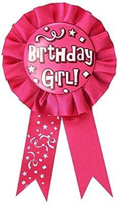 Happy Birthday Girl Award Ribbon, 3-3/4-inch By 6-1/2-inch (1/pkg)