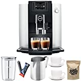 Jura 15070 E6 Automatic Coffee Center, Platinum Includes Jura Milk Container, Filter Cartridge, Frothing Pitcher, Coffee Beans and 2 Ceramic Cups and Saucers For Sale