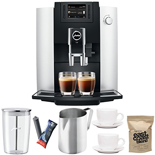 Jura 15070 E6 Automatic Coffee Center, Platinum Includes Jura Milk Container, Filter Cartridge, Frothing Pitcher, Coffee Beans and 2 Ceramic Cups and Saucers