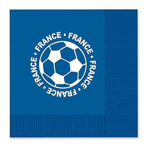 Club Pack of 192 White and Blue 2-Ply ''France'' Soccer Ball Paper Party Lunch Napkins 6.5'' by Party Central