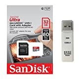 SanDisk Ultra 32GB UHS-I Class 10 MicroSDHC Memory Card Up to 80mb/s SDSQUNC-032G with adapter and USB 3.0 MemoryMarket dual slot MicroSD & SD Memory Card Reader