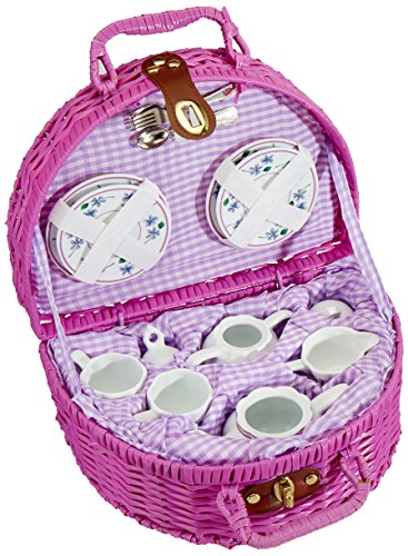 Delton Products Dollies Tea Set in Basket, Purple/Violet for sale  Delivered anywhere in USA