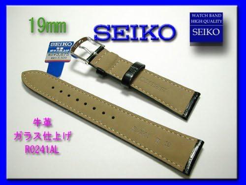 [セイコー]SEIKO 時計ベルト バンド 19mm R0241AL 牛革ガラス仕上げ 黒 ステッチ グレー 正規品