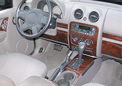 JEEP LIBERTY INTERIOR BURL WOOD DASH TRIM KIT SET 2002 2003 2004