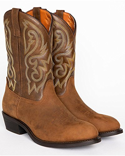 Cody James Men's Embroidered Western Boot Round Toe Distressed Brown 8 D