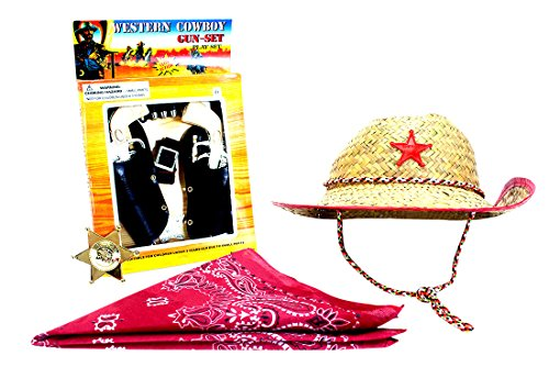 (R) Wild West Cowboy Costume Accessories for Kids Gun Set with Red Bandanna, Red Trimed Western Sheriffs Hat and Gold and Silver Badge 1 of each (Cowboy Outfit Kids)