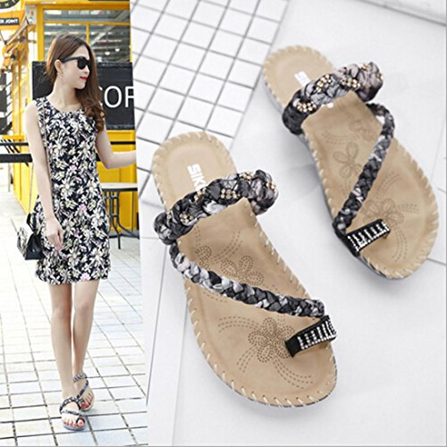 Transer® Ladies Boho Flip Flops Slippers- Women Flat Sandals Comfortable Slides Slippers Shoes Casual Black Zvek1s01