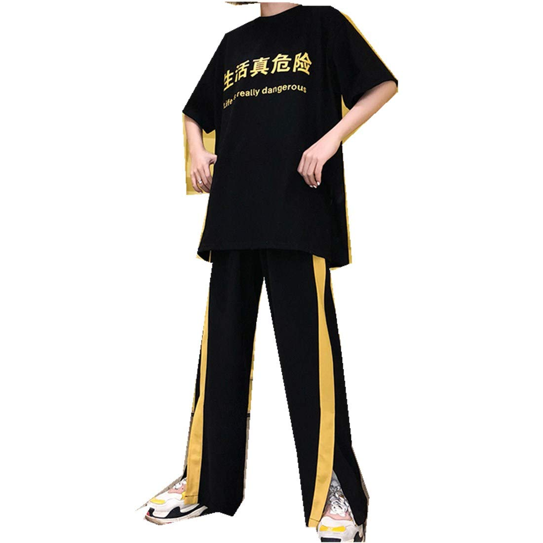 MV Korean Harajuku Bf Wind Loose Fun Print Short Sleeve + Sports Trousers Female